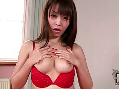 Asian strips down to red bra and panties tubes