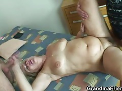 Chubby blonde granny gets shaft from two guys tubes