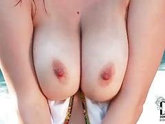 Bikini striptease reveals big natural tits tubes
