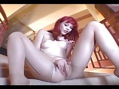 Petite babe masturbating in crotchless hosiery tubes