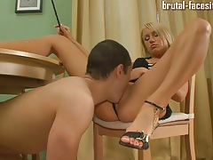 Blonde goddess gets licked on pussy and ass tubes