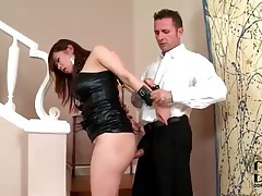 Asian submissive in leather fucked from behind tubes