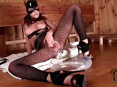 Kitty cat girl takes milk in the pussy tubes