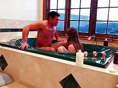 Couple takes a romantic bath together tubes