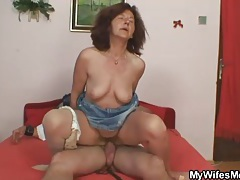 Old redhead sits on hard young boner tubes