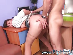 Pantyhose anal sex has a rough edge tubes