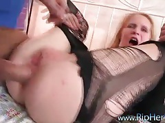 Slut in shiny pants stripped and roughly fucked tubes