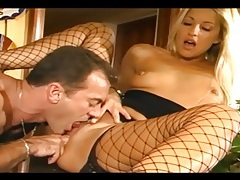 Fit babe fucking in ripped fencenet stockings tubes