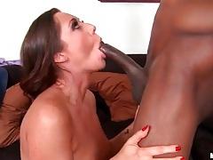 Horny white girl gleefully sucks black cock tubes