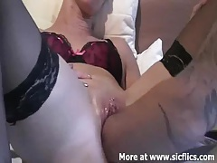 Fisting my wifes monster swollen pussy tubes