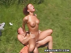 Amateur outdoor threesome action with facial cumshot tubes