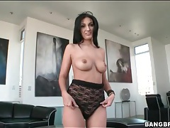 Black lace leotard clings to her sexy body tubes