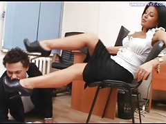 Office submissive worships her high heels tubes