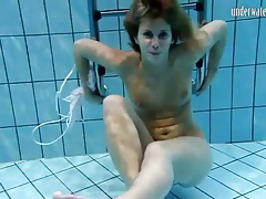 Ruffled lingerie stripped from girl swimming tubes