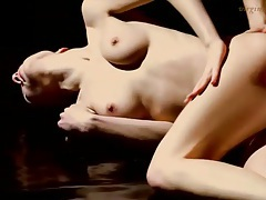Lotion massage relaxes slender girl tubes