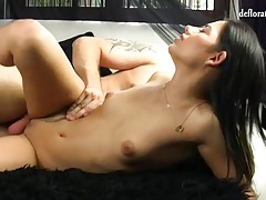 Girl does first time anal from behind tubes