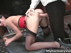Hot brunette hoe Karina Currie gets fucked hard up her tight wet cunt tubes