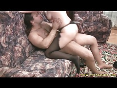 Hairy guy rips her pantyhose open to fuck her tubes