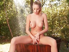 Outdoor shower masturbation with Danielle Maye tubes