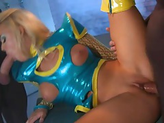Kinky latex girl fucked by two masked men tubes