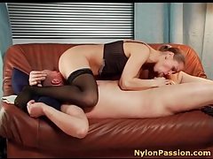 Fooling around with gorgeous girl in stockings tubes