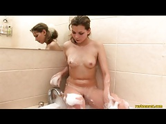 Beautiful skinny teen in bubble bath tubes