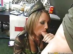 Commanding officer fucks sexy girl in uniform tubes