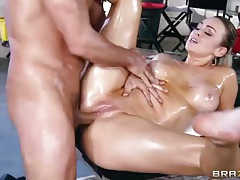 Sexy oil massage ends with Abbey Brooks fucking tubes