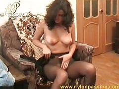 Babe strips from short skirt and masturbates tubes