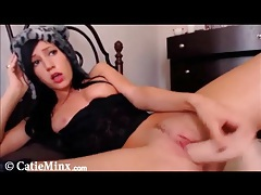 Long dildo fucks into the snatch of Catie Minx tubes