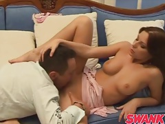 Slutty pink dress makes perky tits girl hot tubes