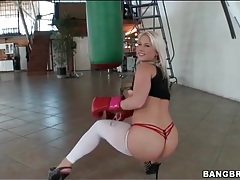 Blonde shakes her ass in sexy white pantyhose tubes