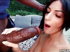 Girl with black hair sucks ebony dick outdoors tubes