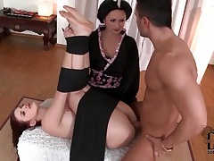 Bound girl taken in the ass while eating pussy tubes