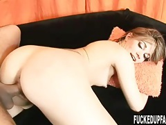 Skinny slut Dakota Brookes laid and taking cum tubes