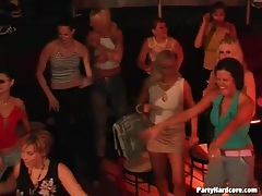 Hot ladies watch the male strippers dance tubes