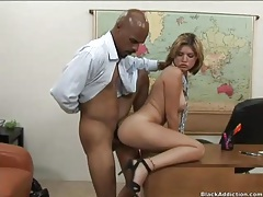 Interracial office sex with his secretary slut tubes