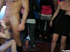 Stripper stroked by hot ladies at the bar tubes