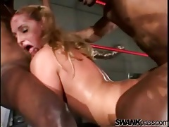 White slut used by black cocks in boxing ring tubes