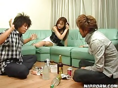 Drunk Japanese girl in a sizzling hot threesome tubes