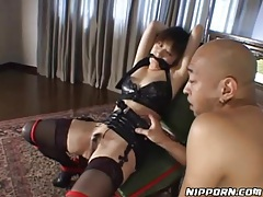 Bound girl in leather bra vibrated by her man tubes