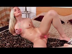 Sexy solo blonde in high heels and panties tubes