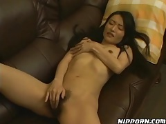 Skinny solo brunette rubs hairy pussy lustily tubes