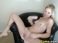 Horny Blonde Sucks On Her Dildo HD tubes
