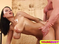 Sperm on her huge oiled natural milkers tubes