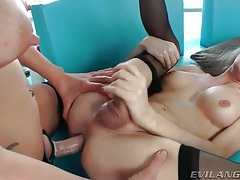 Beautiful girl in strapon fucks shemale asshole tubes