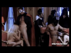 Masked men and women at an oral and fuck party tubes