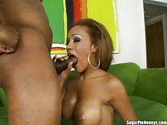 Ebony lover with fake tits fucked hardcore tube