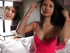 Asian shemale gets hard in stockings tubes