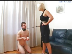 He wears a collar and submits to her man tubes